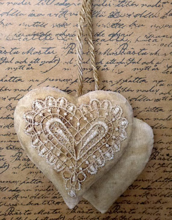 awesome Primative Hearts Part - 17: Small hearts Shabby Chic Primitive heart decoration Decor Cotton Fabric  folk Wall Decor Valentineu0027s