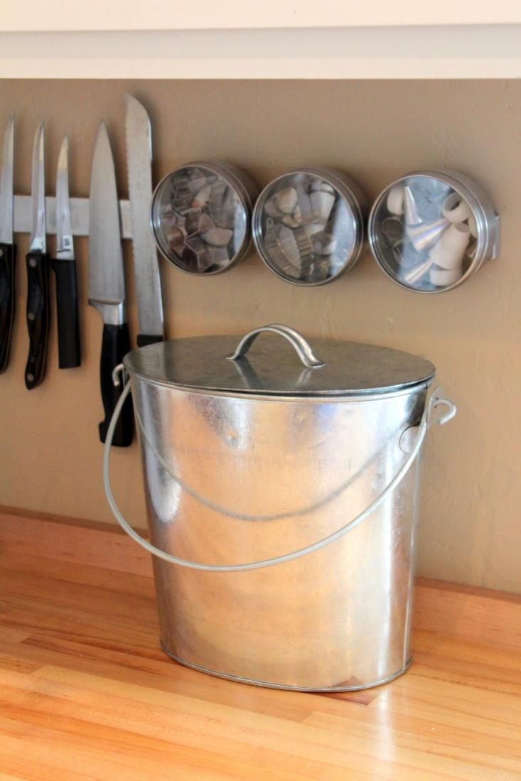 Galvanized Bucket With Lid For Countertop Compost