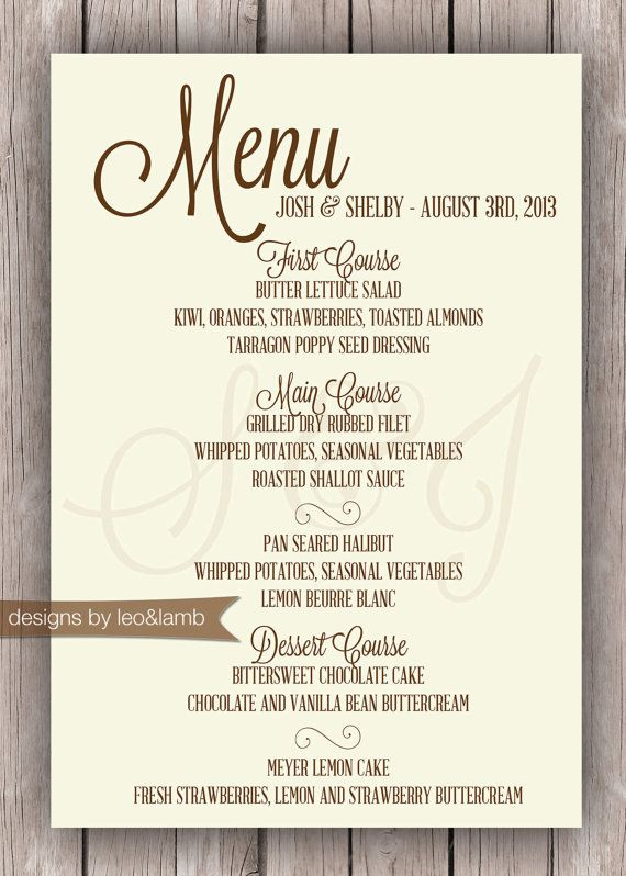 Wedding Or Rehearsal Dinner Menu Printable By Leoandlambdesigns
