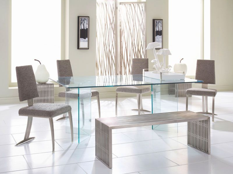 The Modern Dining Room Makes A Statement Glass On Glass Dining Table With Tania Cha Glass Dinning Room Table Glass Dining Room Table Glamourous Dining Room
