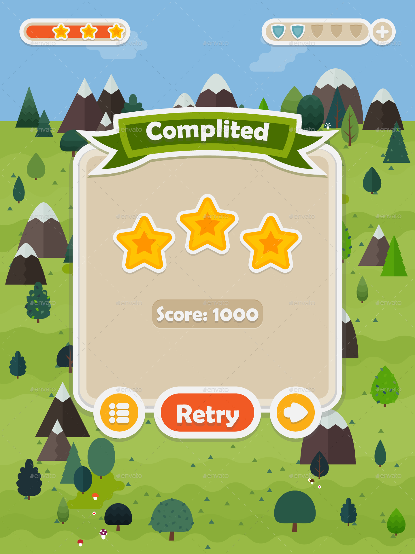 Flat Forest Game User Interface Set Forest Games User Interface Button Game