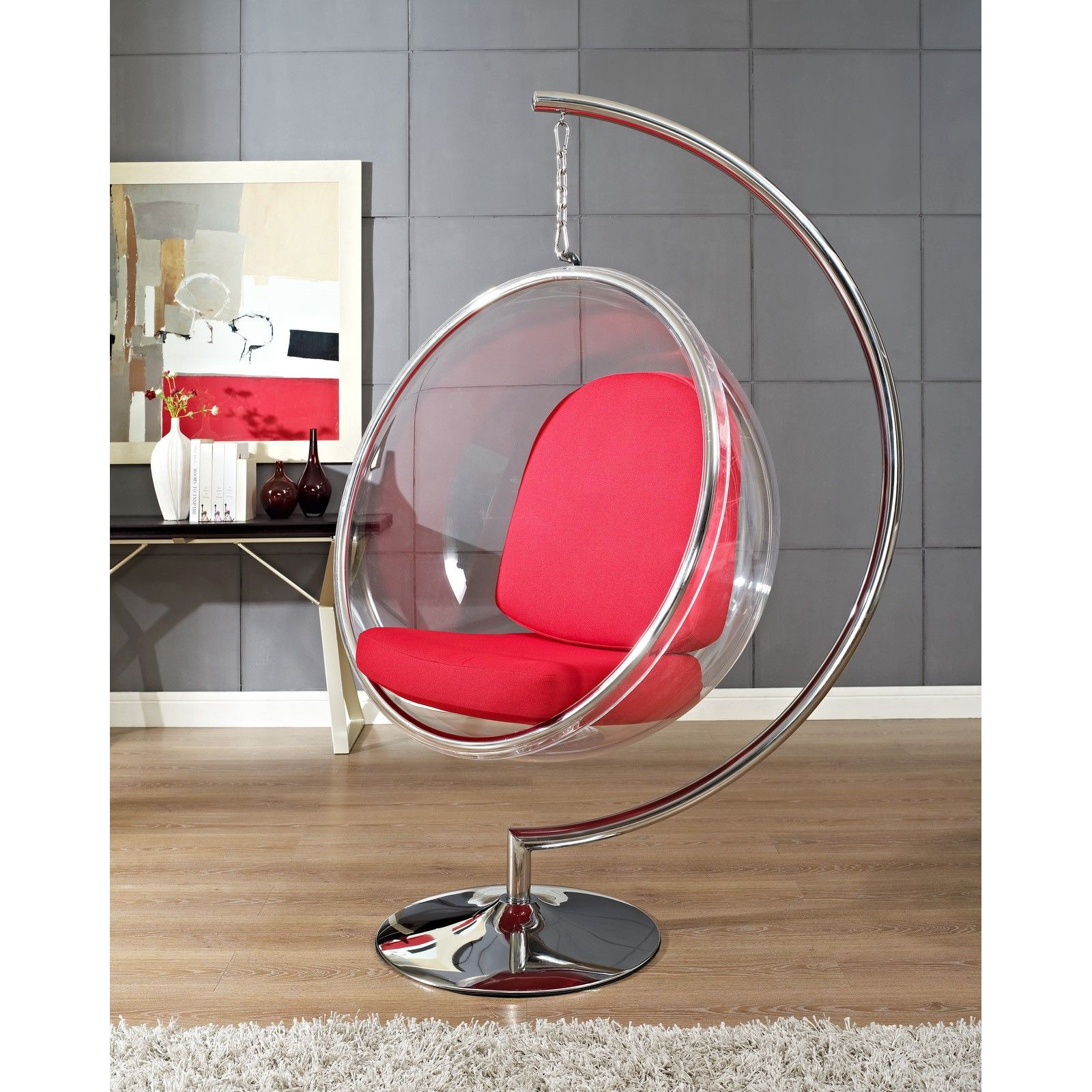 Baby Nursery Modern Hanging Bubble Chaise Chair Chrome