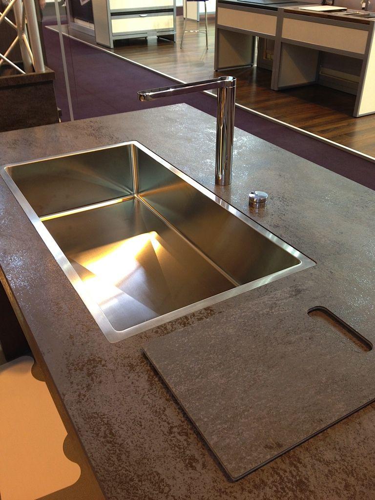 Küchendesign marmor jetstone ceramic worktop with abk flush mount sink  küche