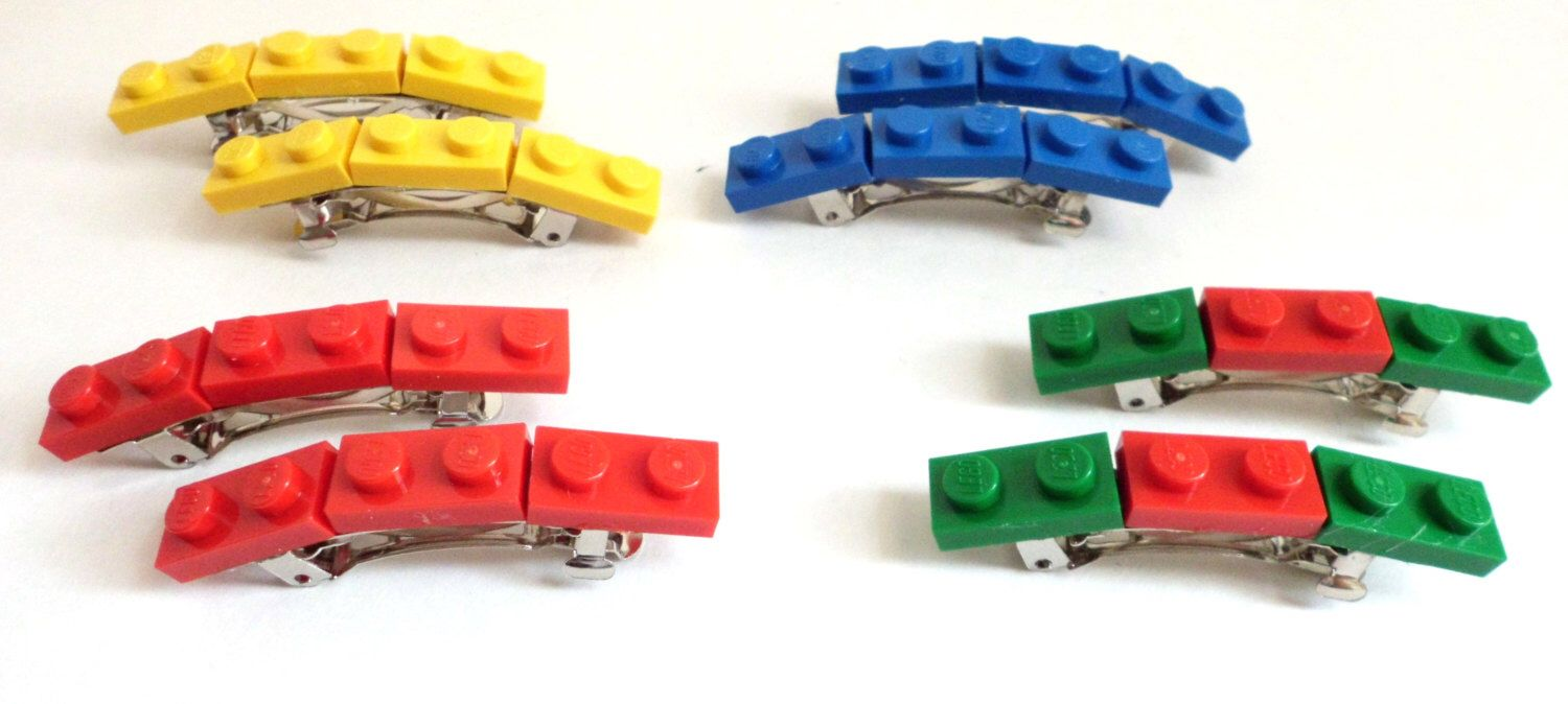 Lego Hair Barrettes made with Lego Bricks, party favors - Four Pairs by TimelessToyBox on Etsy https://www.etsy.com/listing/157353781/lego-hair-barrettes-made-with-lego