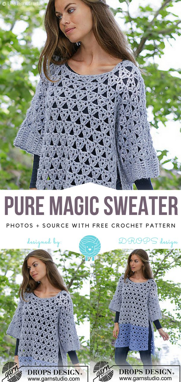 Pure Magic Sweater Gratis Häkelanleitung #crochetdress