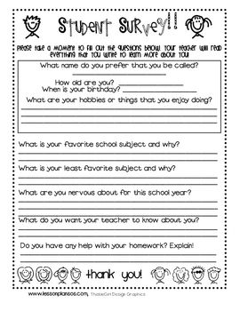 Student Survey  Back To School  Back To School