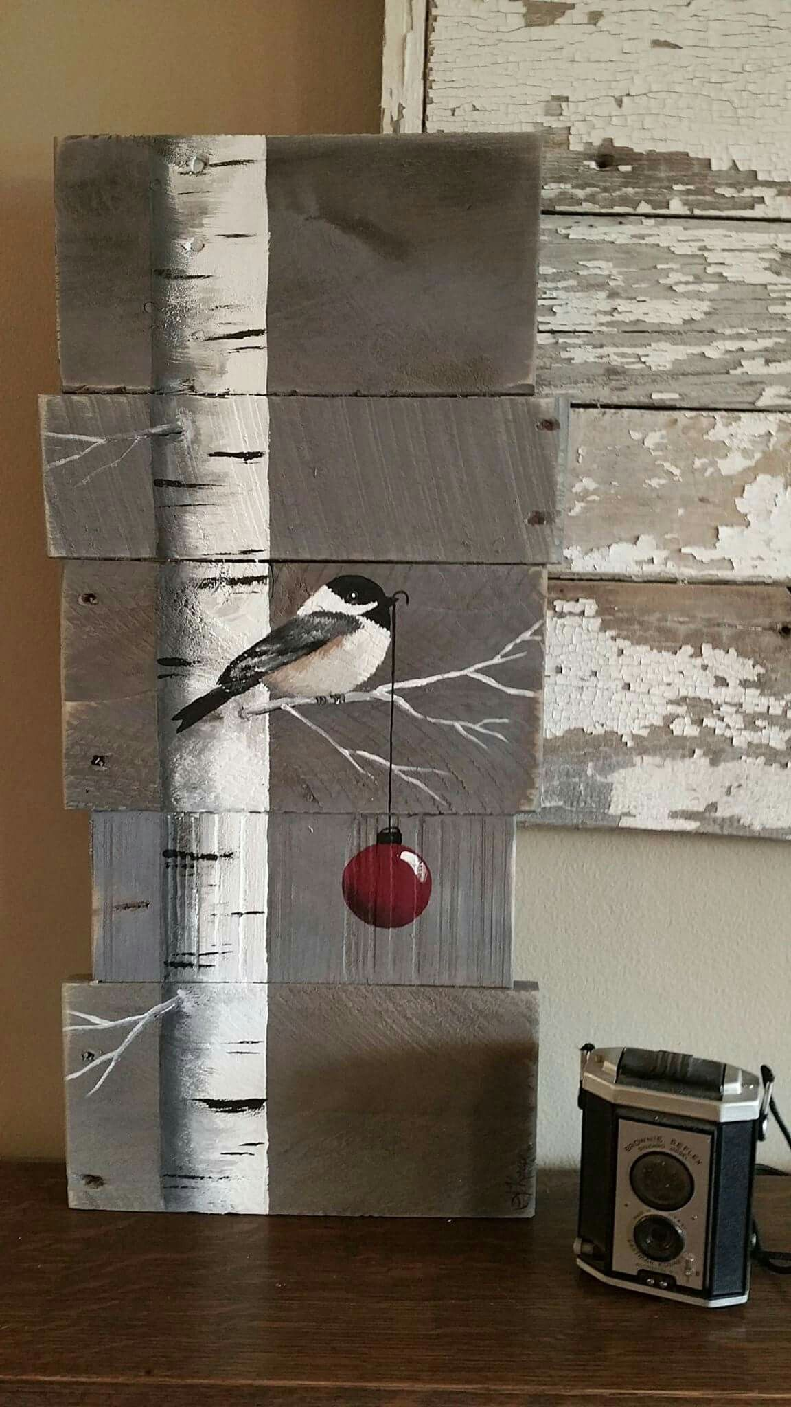 Very Pretty Painting Birch Tree Bird And Christmas Ball On Reclaimed Wood Awesome Present Idea