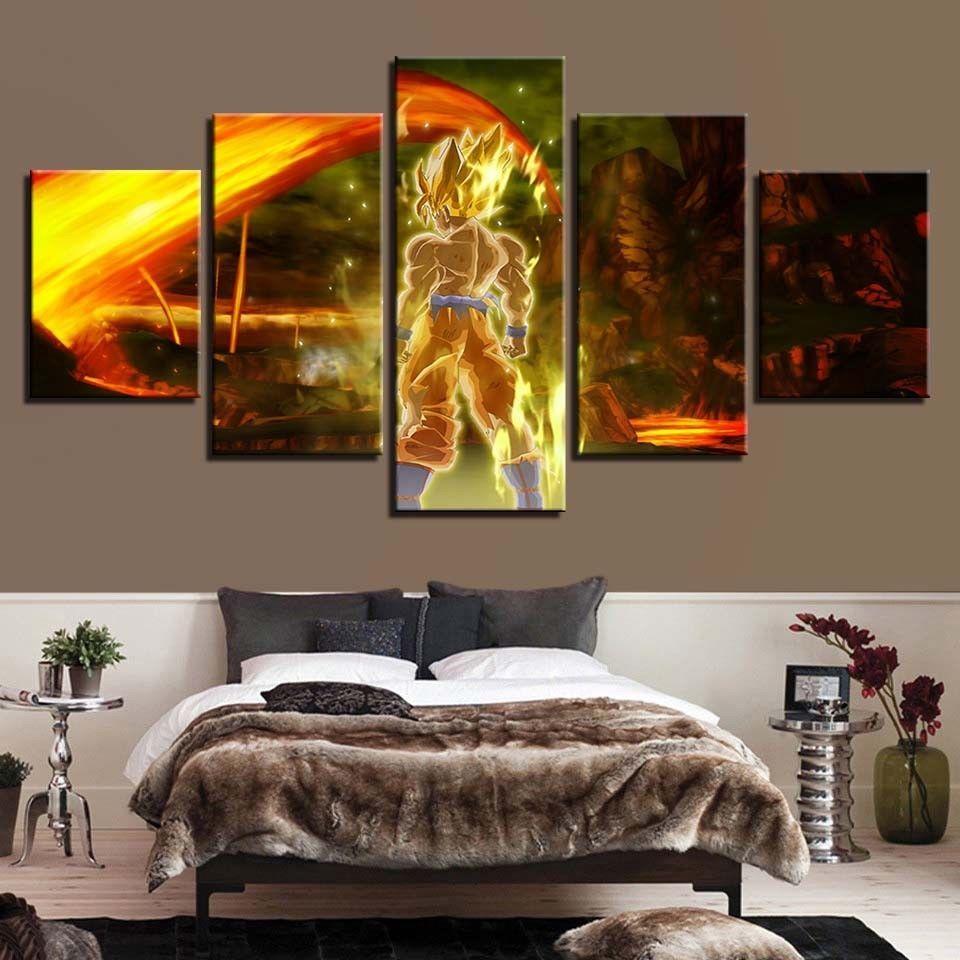 Framed Dragon Ball Z Son Goku Painting Printed Canvas Wall Art Home
