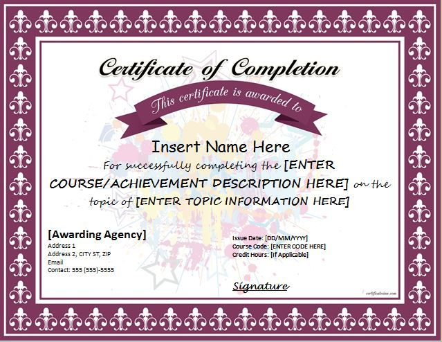 Certificate of Completion for MS Word DOWNLOAD at   - free customizable printable certificates of achievement