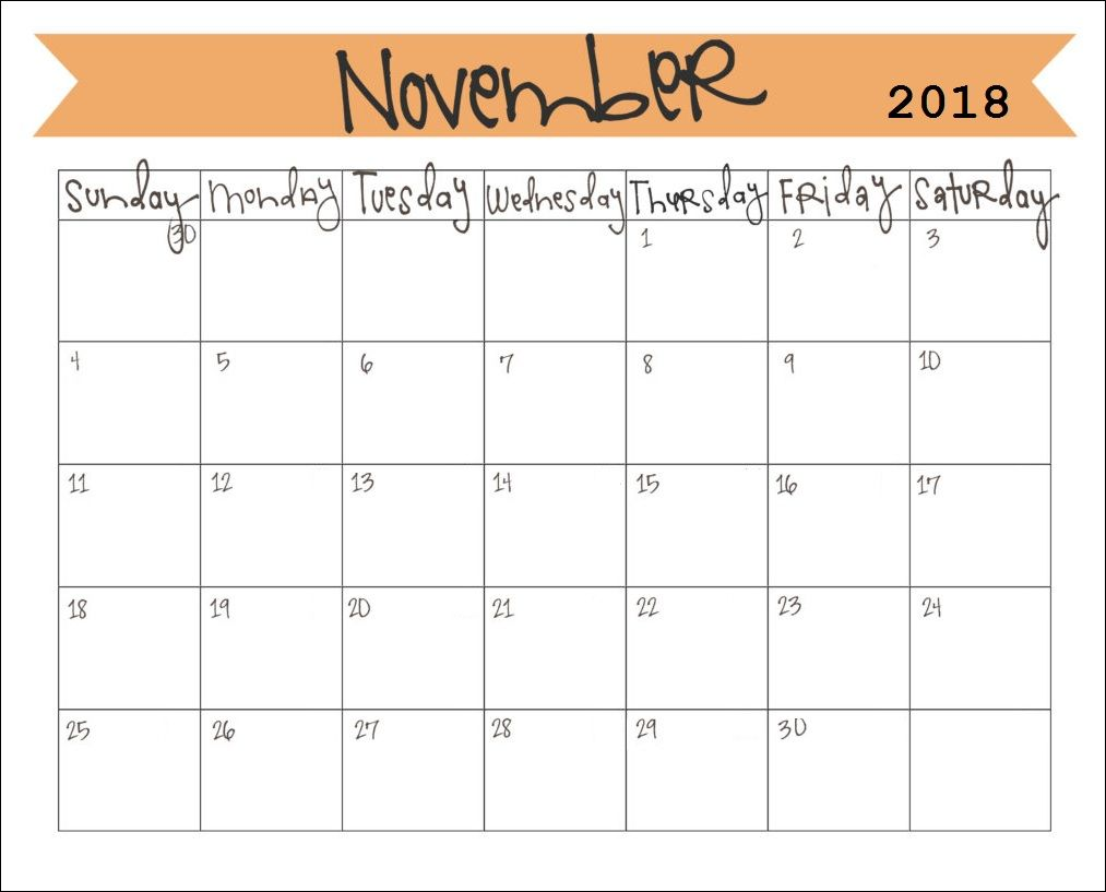 Printable November 2018 Calendar November Calendar Monthly