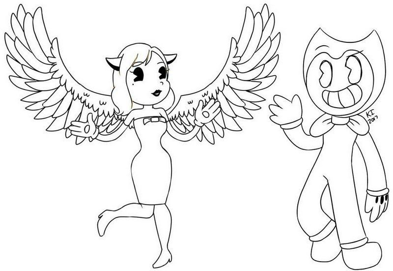 Alice Angel And Bendy Coloring Page In 2020 Angel Coloring Pages Alice Angel Coloring Pages