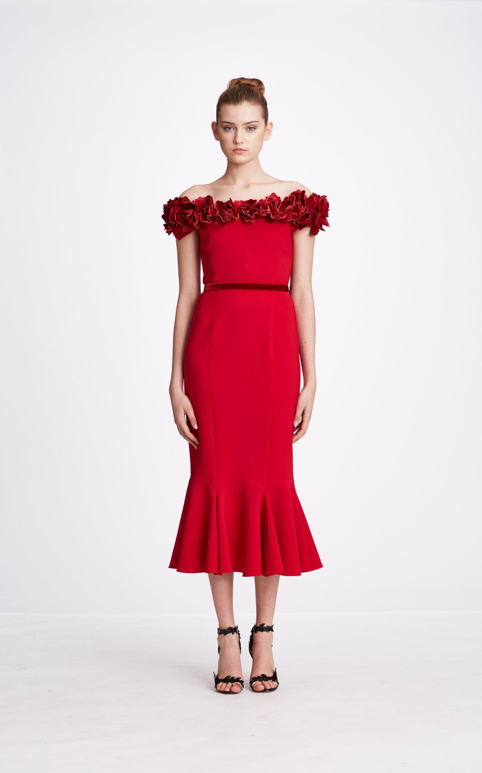 8bda27c04256 Floral-Appliquéd Off-The-Shoulder Crepe Dress in 2019
