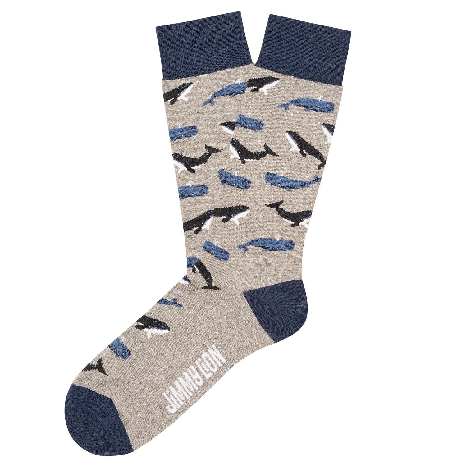 blue and grey whale socks by Jimmy Lion. design, whales
