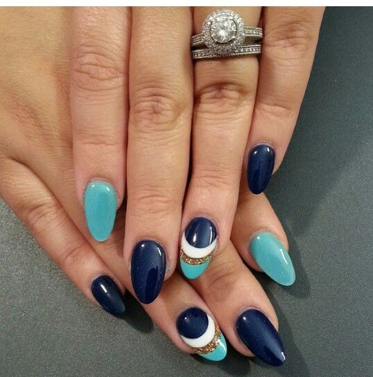 Navy Turquoise Swag Nails Turquoise Nails Trendy Nails
