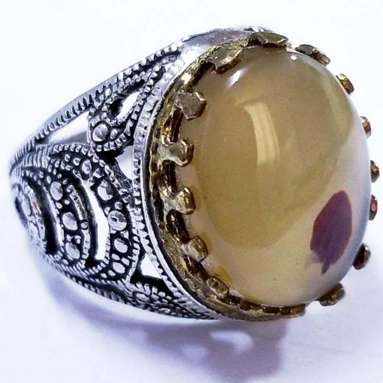 handmade 925 sterling silver ring genuine yaman yemen aqeeq agate akeek