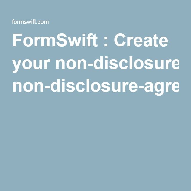 Formswift  Create Your NonDisclosureAgreement  Inventing