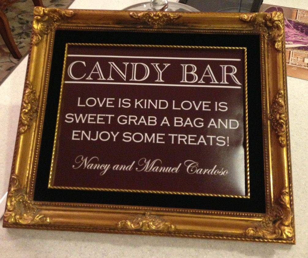 Candy Bar For Wedding Ideas: Signe De Mariage Candy Bar/Buffet Ou Poster Bricolage