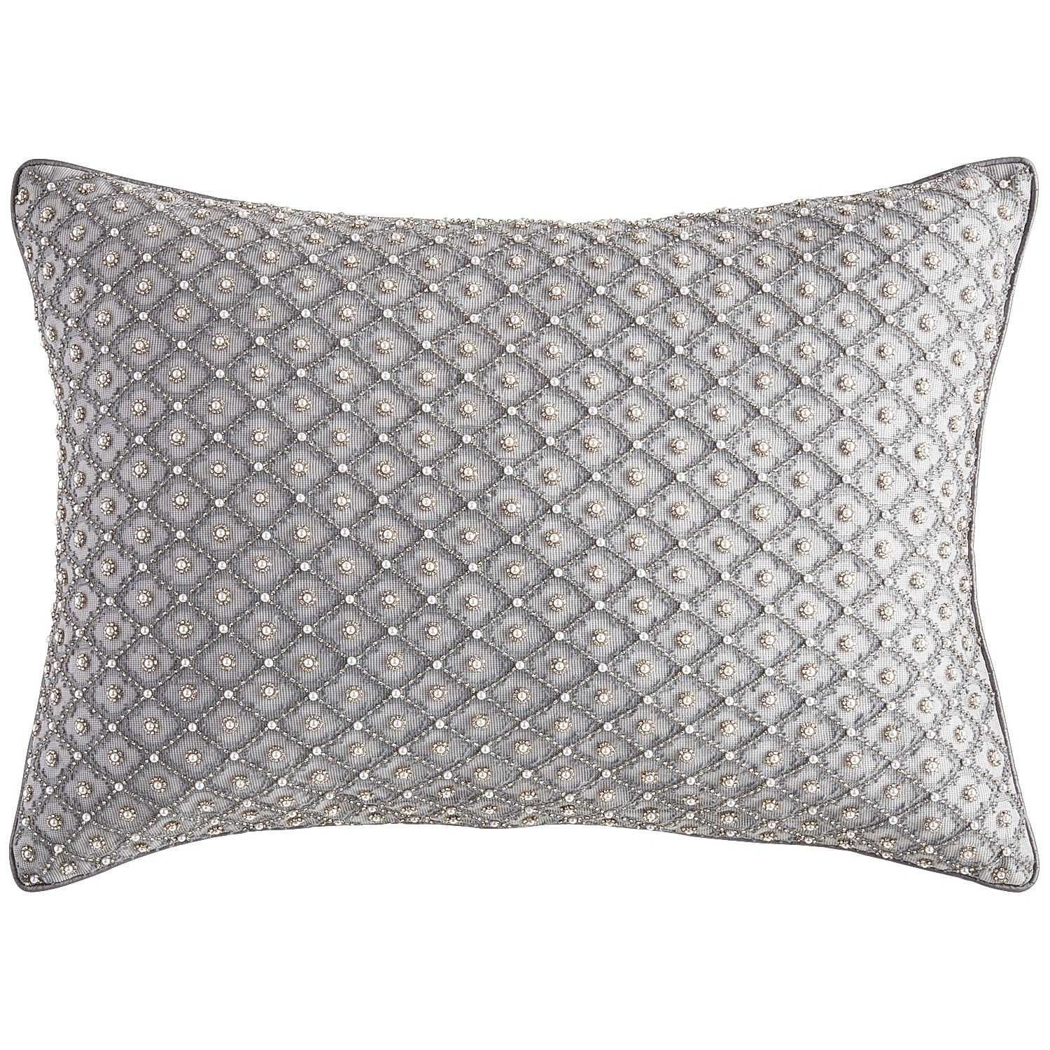 Silver French Fleur Beaded Lumbar Pillow Cotton Decor Throw  ~ How To Coordinate Throw Pillows For Sofa And Chairs