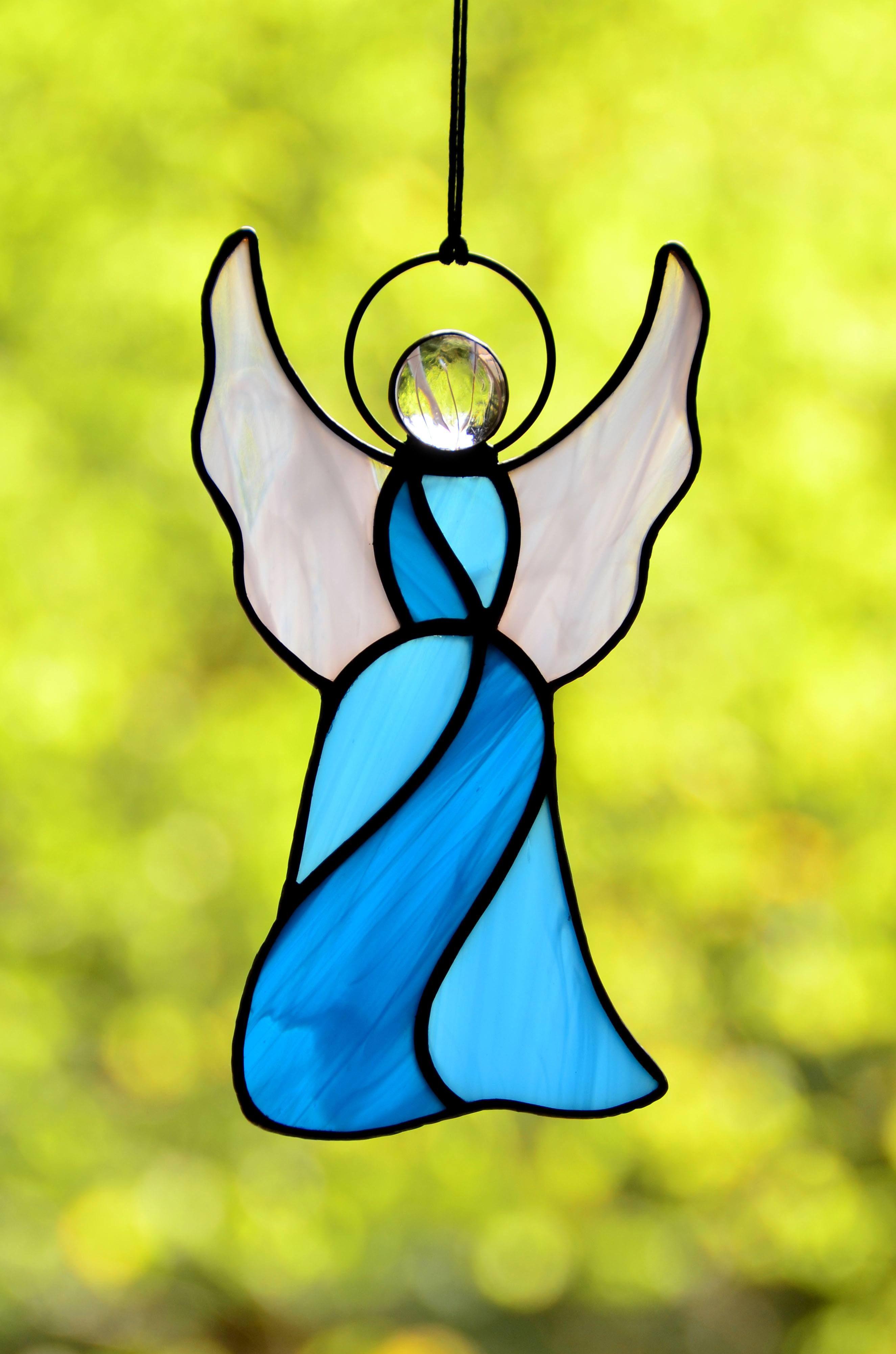 Stained glass angel, stainglass suncatcher, religious decor, window ...