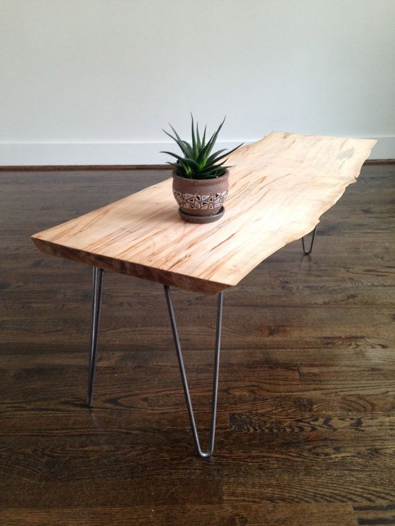 Live edge maple slab coffee table on steel hairpin legs. The Edison Coffee  Table is modern and rustic all in one.