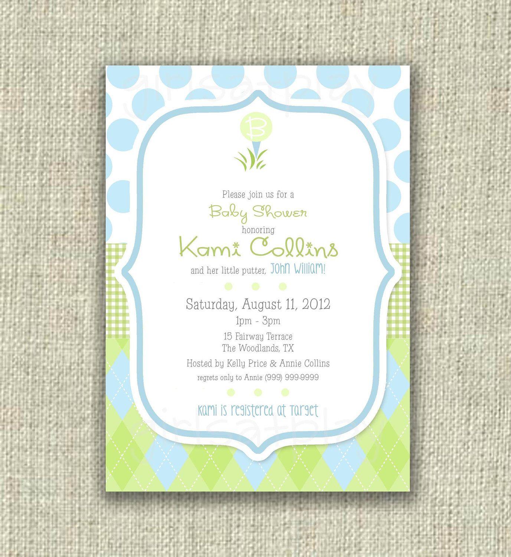Golf Baby Shower Invitation Invite Boy Blue Green Printable - by ...
