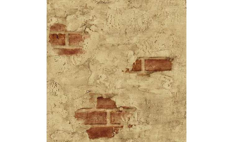 Wallpaper Designer Tuscan Tan Stucco Wall with Red Exposed Brick ...