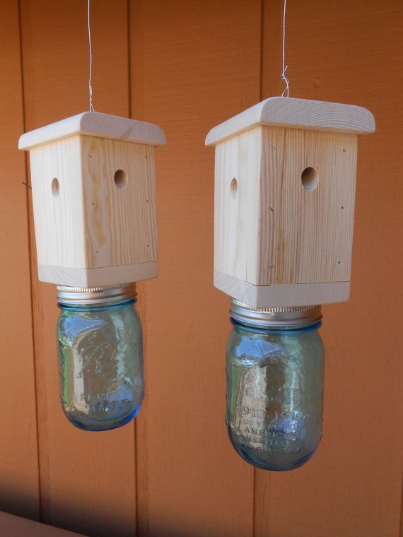2 Carpenter Bee Traps Wood Boring Including Blue Mason Jars Hanging Hardware