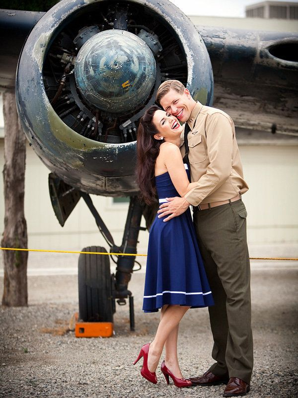 Vintage military patriotic engagement photos