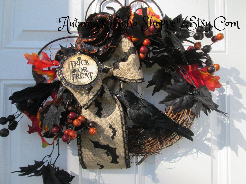 HALLOWEEN DECOR WREATH....Halloween Door Wreath....Seasonal Decor Wreath... Non Spooky Halloween Wreath..Traditional Halloween Decor Wreath by AutumnsEchoShoppe on Etsy