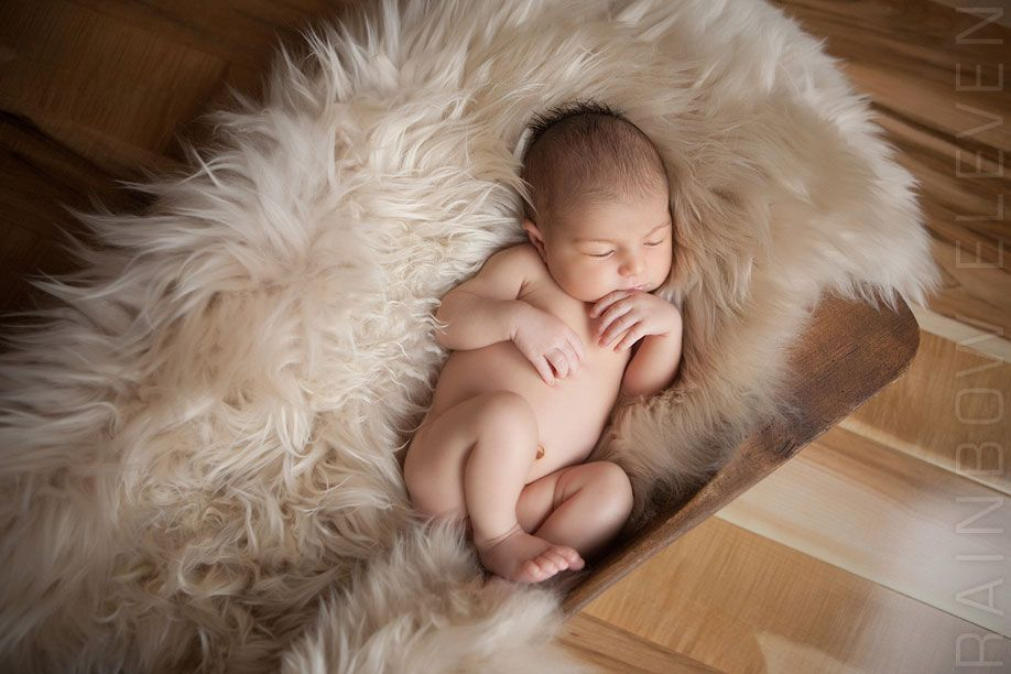 Newborn Baby Photoshoot with Sheepskin - Multiple Colors Available at Elegant Furs