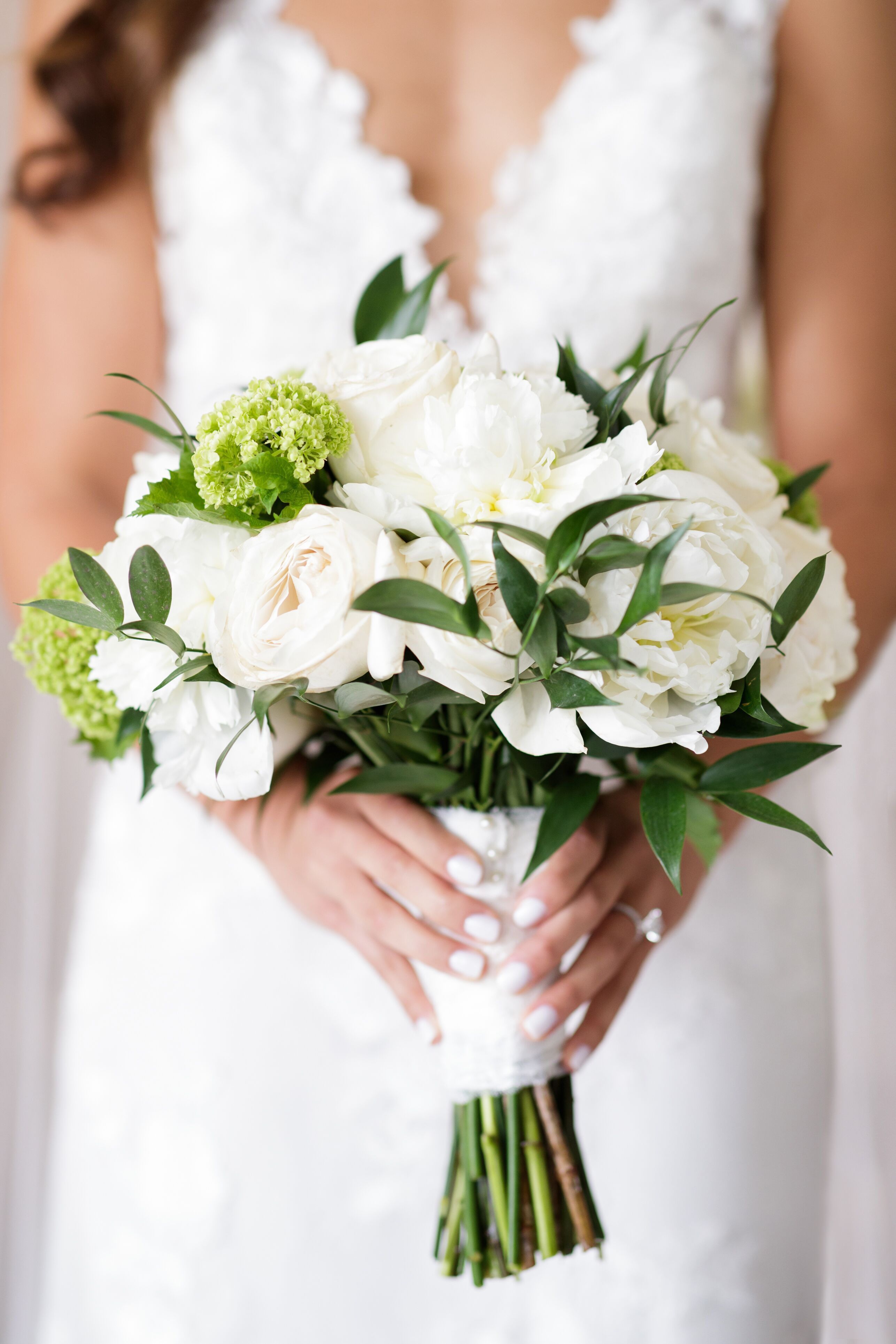 Tight Compact White And Green Bridal Bouquet For Chicago Garden