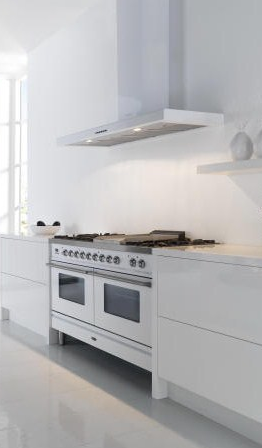 ILVE Range Cooker In Stainless Steel With Slab Style Modern Hood | Kitchen  Design Ideas |
