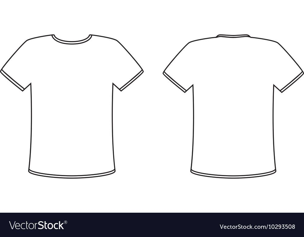 Blank T Shirt Vector Template Simple White Shirt With A Black Outline Front And Back View Copy And Des T Shirt Design Template Shirt Template Blank T Shirts