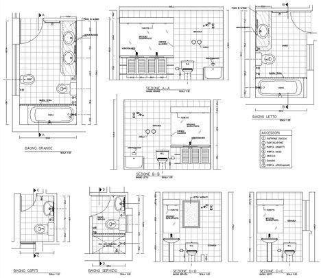 Bagni completi, progetti di bagni cad dwg | asilo | Pinterest | AutoCAD