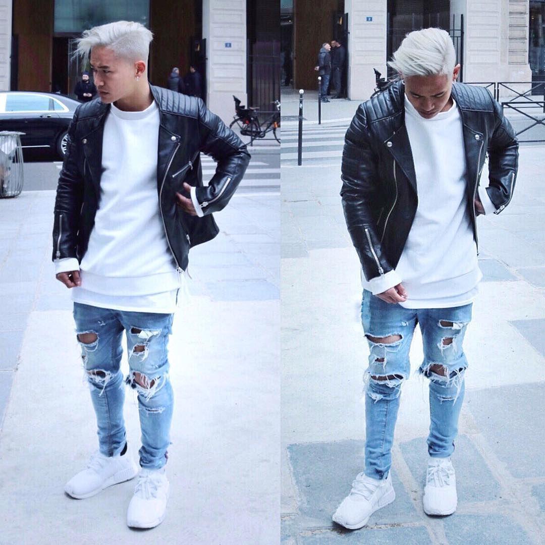 Bad Boy Style Black Leather Biker Jacket White T Shirt Ripped Jeans L C Men 39 S Jackets