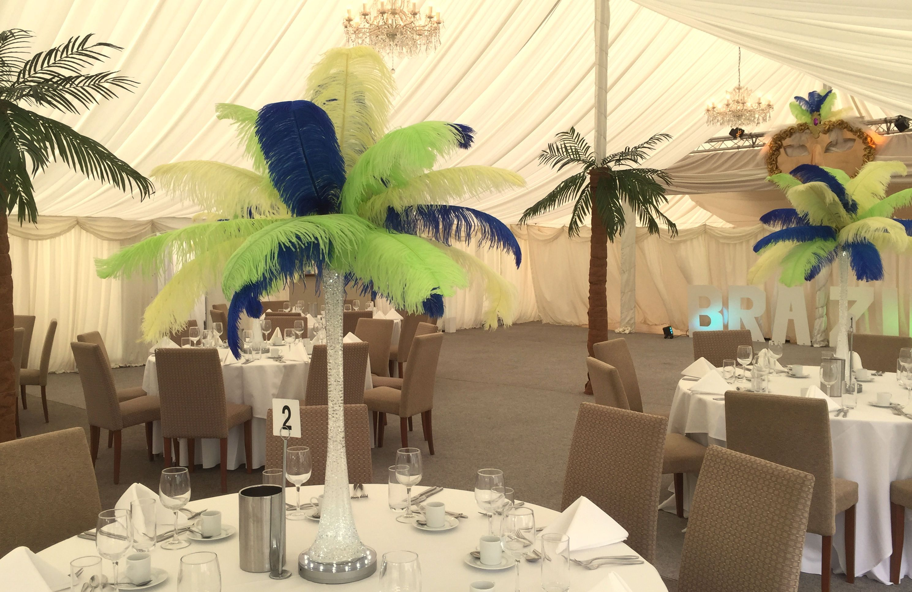 Glass Vase And Feather Table Centre, Tree Decoration For Marquee