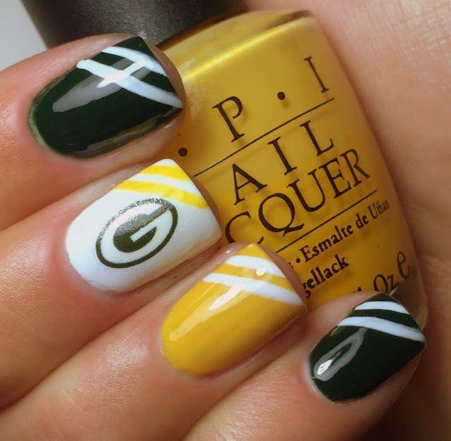 Nails by an OPI Addict: Green Bay Packers Part 2 | Nail Art ...