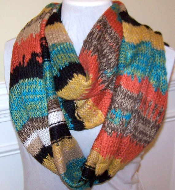 1242cfc86e Infinity Scarf Chunky Sweater knit scarf Teal by peachykeenday