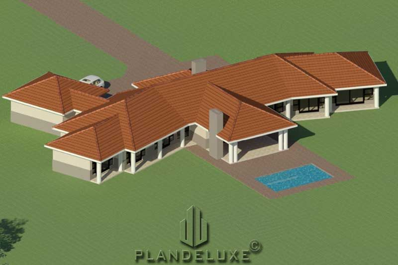 One Story 4 Bedroom House Plan Ranch House Designs Plandeluxe Ranch House Designs House Plans For Sale House Plans