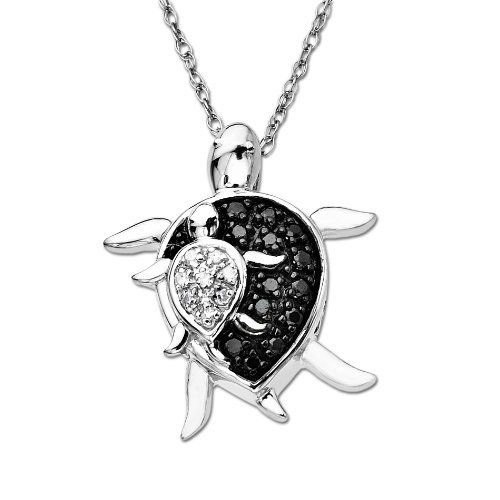 XPY 10k White Gold Mother and Baby Turtle Diamond Pendant