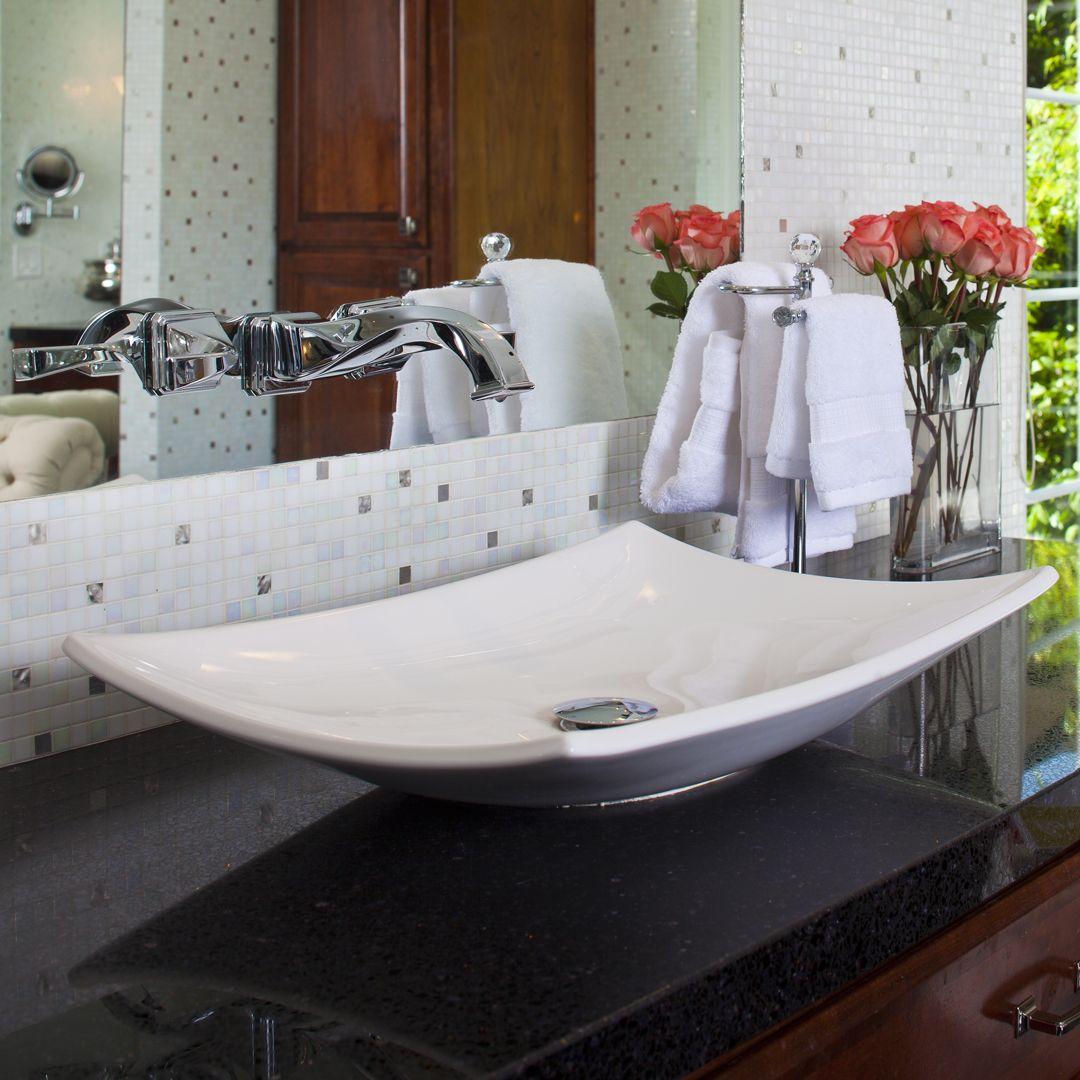 Outstanding Bathroom Remodel. Vessel Sink, Granite Countertops And Mosaic Tile By Granite