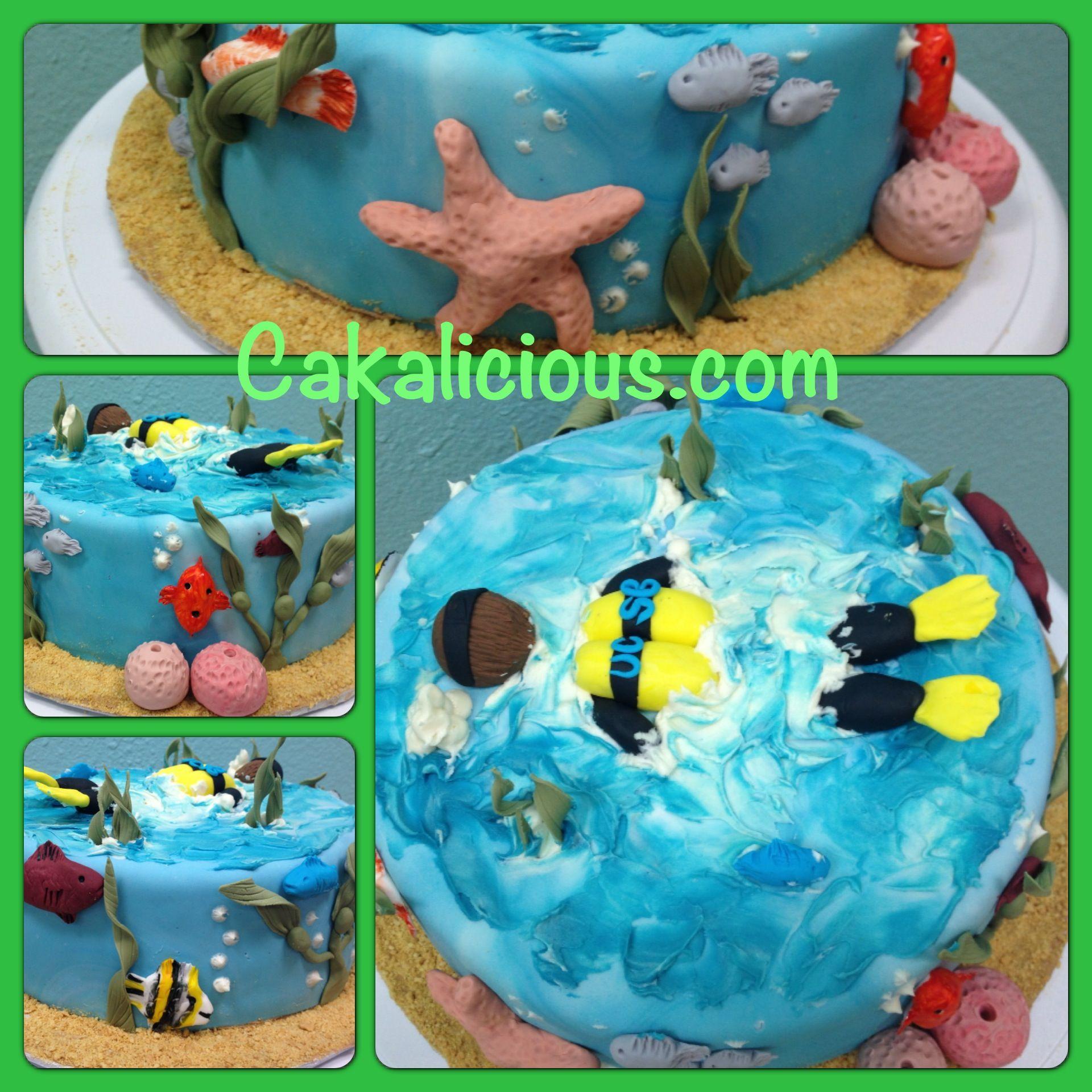 Marine Biology Ocean Graduation Cake