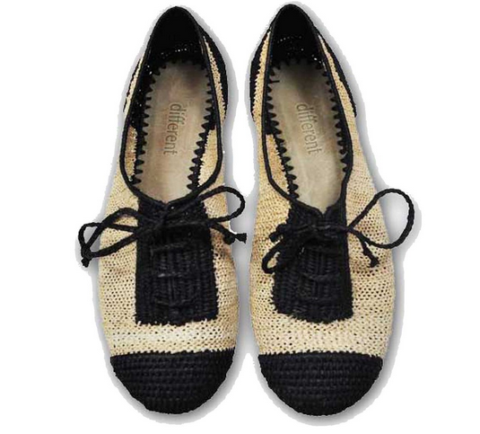 B&W raffia blucher by Las Bailarinas Shoes