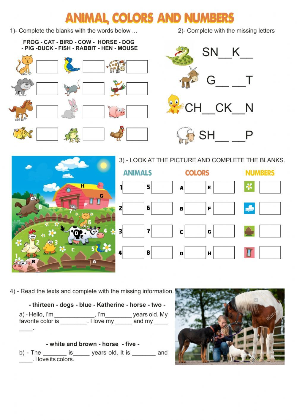 Animals Colors Numbers School Objects Interactive Worksheet English Worksheets For Kids Color Worksheets Worksheets For Kids [ 1413 x 1000 Pixel ]