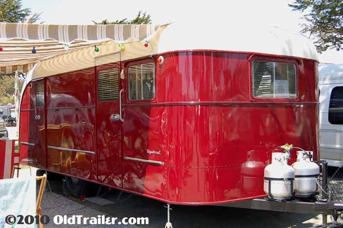 Vintage 1949 Vagabond trailer painted red and cream colors