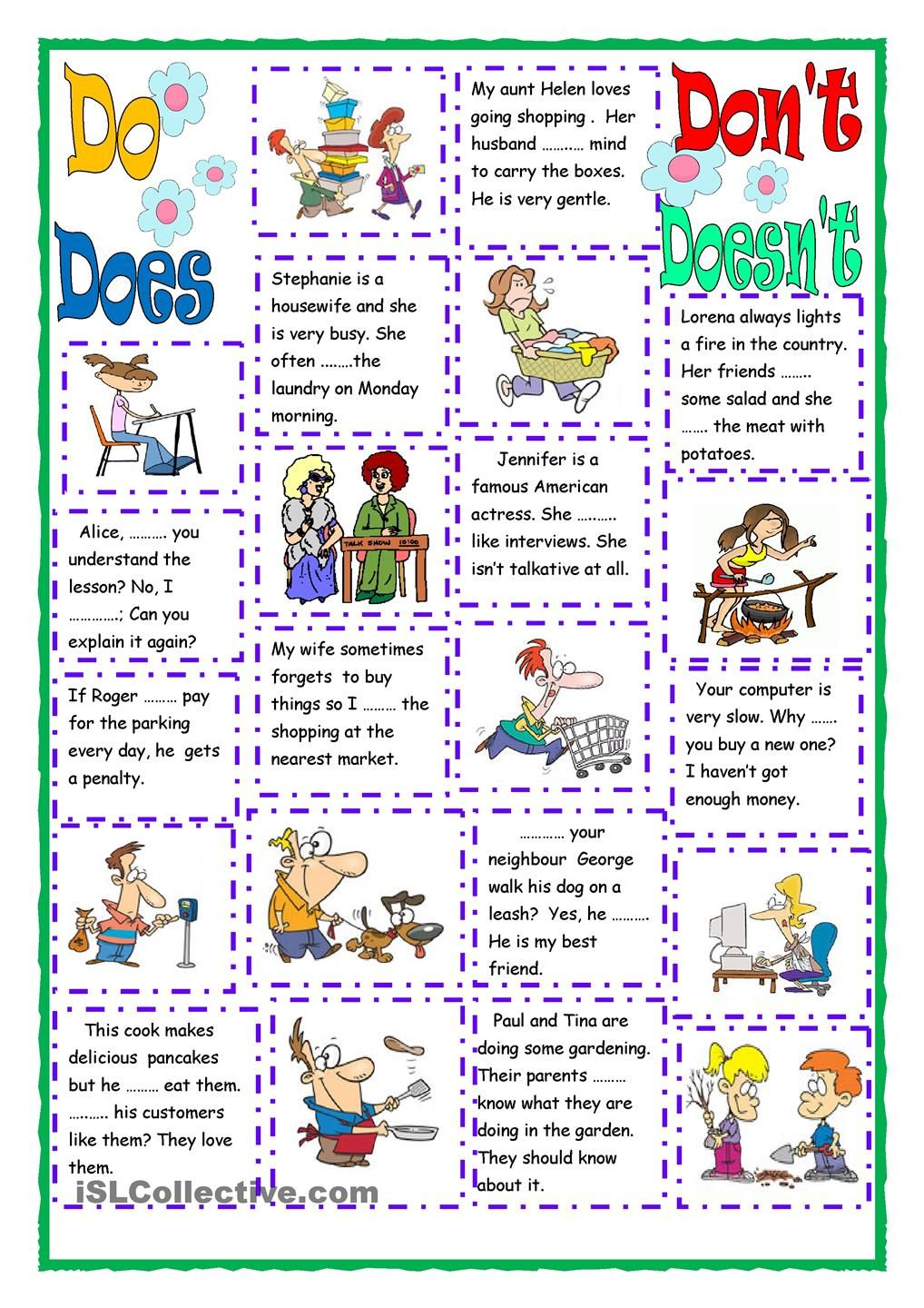 Do Does Don T Doesn T Reading Comprehension Kindergarten English Activities English Exercises [ 1440 x 1018 Pixel ]