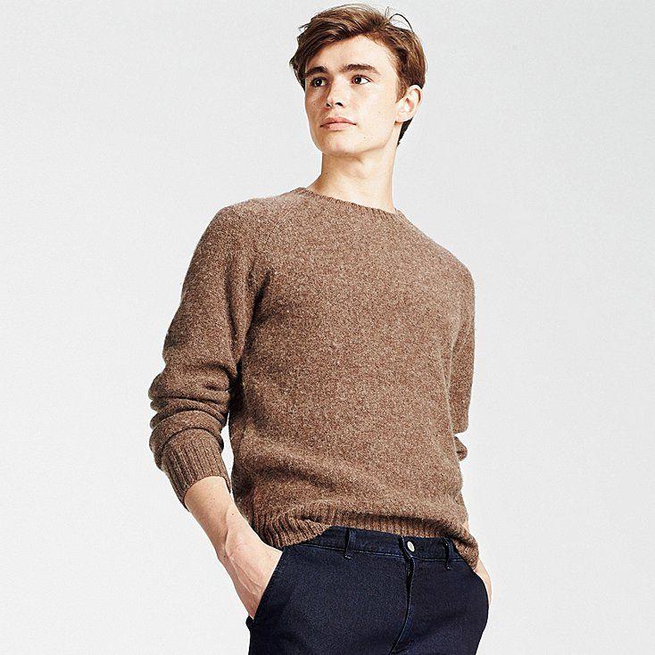 MEN BOILED WOOL CREWNECK SWEATER | Crew neck sweater, Boiled