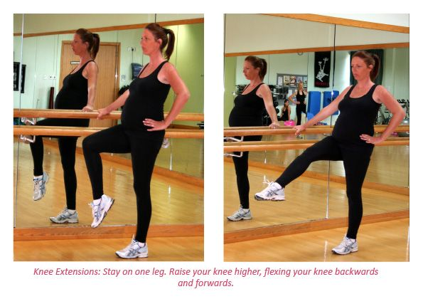 Warm up your leg muscles and joints - stand on one leg and flex you knee. Click here for full details! #safeexercise #fitpregnancy