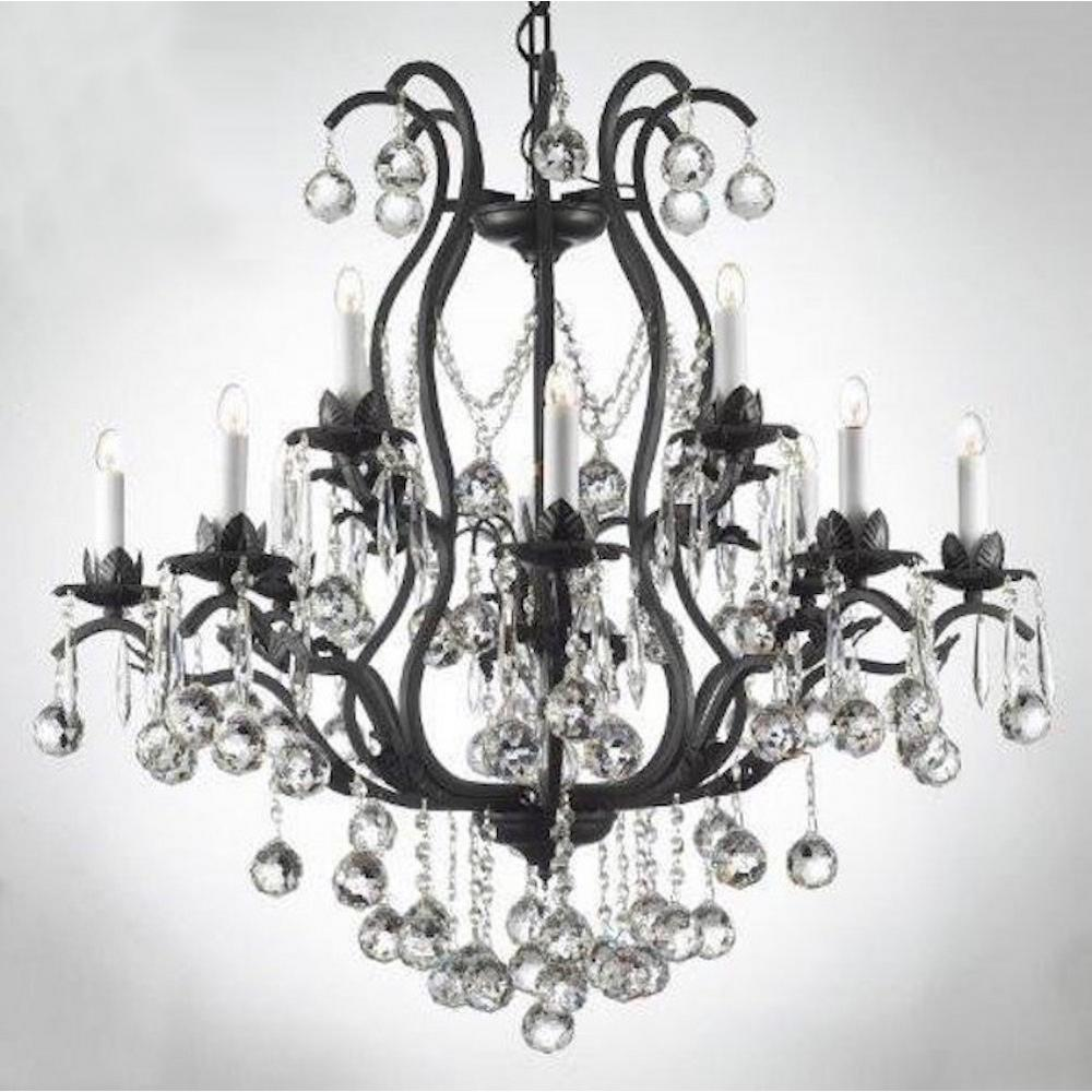 Harrison Lane Versailles 12 Light Iron And Crystal Chandelier With Crystal Balls T22 1231 The Home Depot In 2020 Crystal Chandelier Lighting Crystal Chandelier Iron Chandeliers