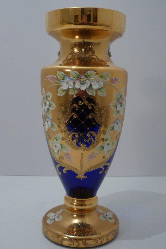 Bohemian Glass 12 Quot High Large Vase Vintage Cobalt Blue